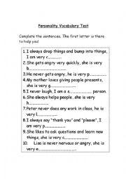 Personality vocabulary test