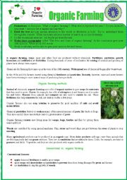 Organic farming READING + Vocabulary ex and WRITING for advanced.