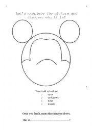 English Worksheet: Mickey Mouse draw and name exercise