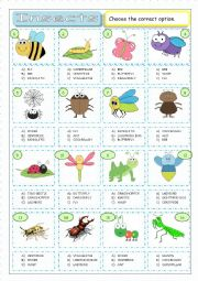 English Worksheet: Insects - Multiple Coice