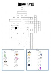 English Worksheet: clothes crosswords