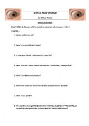 English Worksheet: BRAVE NEW WORLD by Huxley - Worksheets chapters 1-6 + KEY NOTES