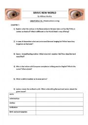 English Worksheet: BRAVE NEW WORLD by Huxley - Worksheets chapters 7-11 + KEY NOTES