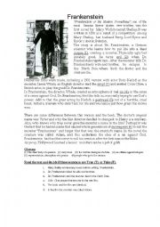 English Worksheet: Frankenstein - reading comprehension exercise