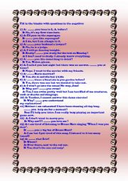English Worksheet: NEGATIVE QUESTIONS