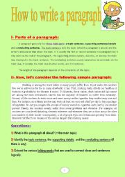 How to write a paragraph (a tasksheet with two nice sample paragraphs)