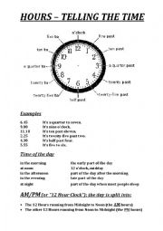 English Worksheet: HOURS � TELLING THE TIME