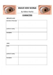 English Worksheet: BRAVE NEW WORLD by Huxley - characters + KEY