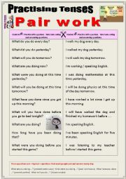 English worksheet: Practicing tenses with a partner