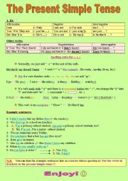 English Worksheet: The Present Simple Tense (to be and also other verbs)