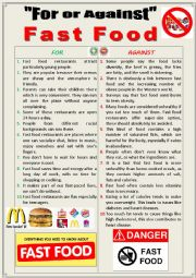 English worksheet: For or against Fast Food (Debating)