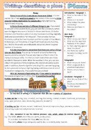 English Worksheet: Writing- Describing a place