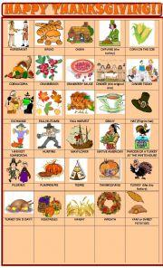 English Worksheet: Thanksgiving : pictionary