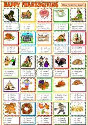 English Worksheet: Thanksgiving : multiple choice