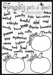 English Worksheet: Spooky parts of speech