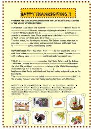 English Worksheet: Thanksgiving : easy  reading