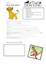English Worksheet: lion king - video class