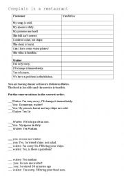 English Worksheet: Complain in a restaurant