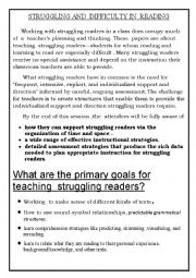 English worksheet: how to deal  with  struggling  readers