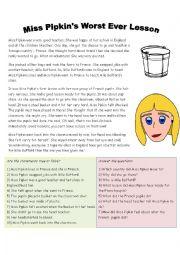English Worksheet: Miss Pipkin in France