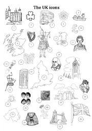 English Worksheet: The UK icons