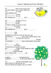 English Worksheet: Lemon tree song gap fill