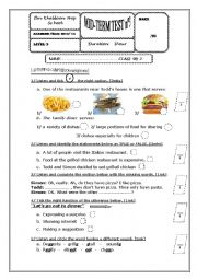 English Worksheet: Mid- term test 3   9th form Tunisian sts