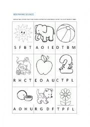 English Worksheet: Beginning sounds