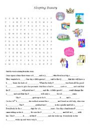 English worksheets sleeping beauty word search puzzle - Lounger for the garden crossword ...