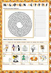 English worksheet: HALLOWEEN ACTIVITIES