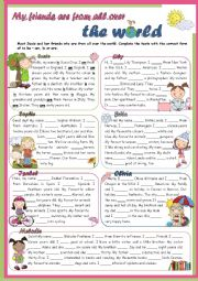 English Worksheet: Grammar Time Series - To Be - My friends are from all over the world - GIRLS