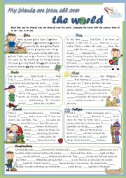 English Worksheet: Grammar Time Series - To Be - My friends are from all over the world - BOYS