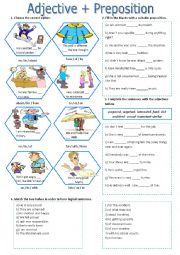 English Worksheet: prepositions +adjectives