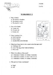 English Worksheet: Finding Nemo questions