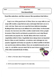 English Worksheet: Main Idea and Detail