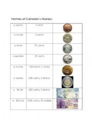 English Worksheet: Canadian Money