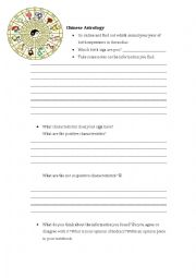 Chinese Zodiac Online Search Guided Sheet & Class Questions Survey