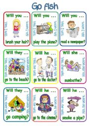 English Worksheet: Go fish - Will you ...? / Will she ...? / Will he ...? / Will they ...? (1/3)