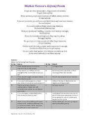 English Worksheet: Mother Teresa�s Anyway poem