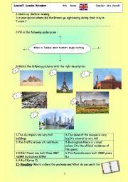 English worksheet: London Wonders