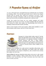 English Worksheet: 7 Popular Types of Coffee