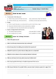 English Worksheet: THE BIG BANG THEORY - first episode
