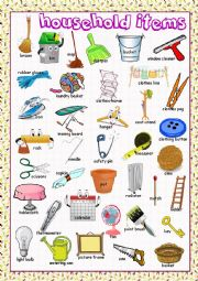 English Worksheet: Household Items Picture Dictionary