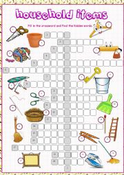 English Worksheet: Household Items Crossword Puzzle