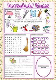 English Worksheet: Household Items Vocabulary Exercises