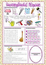 English Worksheet: Household Items Vocabulary Exercises
