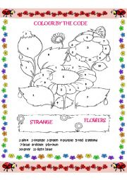 English Worksheet: Strange flowers- colour by the code