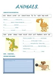 English Worksheet: DESCRIPTION OF ANIMALS
