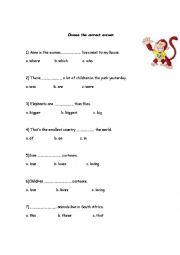 English Worksheet: Cambridge Movers - Practice