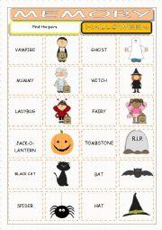 English Worksheet: Halloween Memory